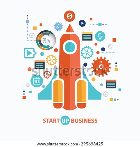 Start up business concept design on white background,clean vector - stock vector