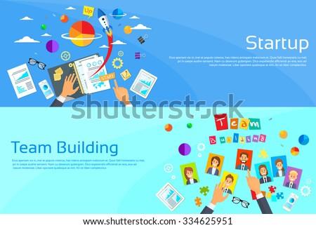 Start Up Concept Businessman Hands Desk New Business Plan Documents Team Building Photos Person Profile Flat Vector Illustration - stock vector