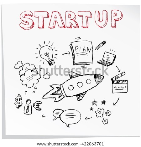 Start up concept. Seamless hand drawn pattern. Vector illustration - stock vector