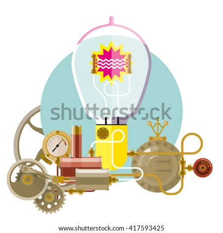 Start-up concept, steam-punk, new idea, concept of new business project startup development and launch a new innovation and bright product. - stock vector