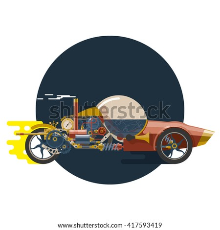 Start-up concept, steam-punk, racing car, concept of new business project startup development and launch a new innovation and bright product. - stock vector