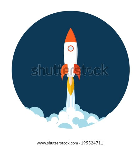 Start Up Concept Symbol Space Roket Ship Sky Icon Trendy Modern Flat Design Template Vector Illustration - stock vector