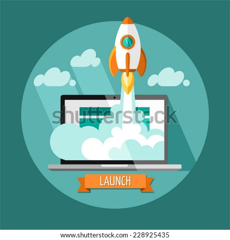 Start Up. Flat design modern vector illustration concept of new business project start-up development and launch a new innovation product on a market. - stock vector