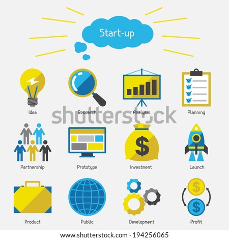 Start-up icon set in flat design style. - stock vector