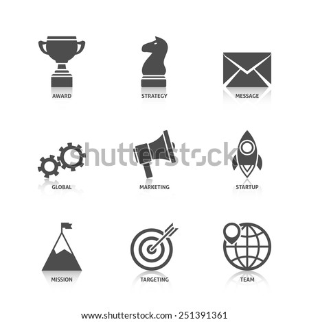 Start Up Icons with Reflection - stock vector