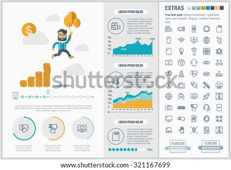 Start up infographic template and elements. The template includes illustrations of hipster men and huge awesome set of thin line icons. Modern minimalistic flat vector design. - stock vector