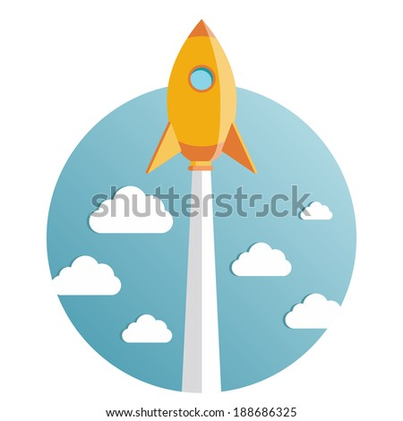 Start up new business project with rocket and clouds image, vector eps10 illustration - stock vector