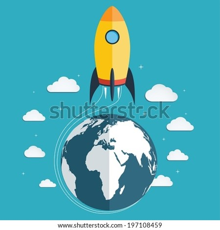 Start up the space rocket into space - stock vector