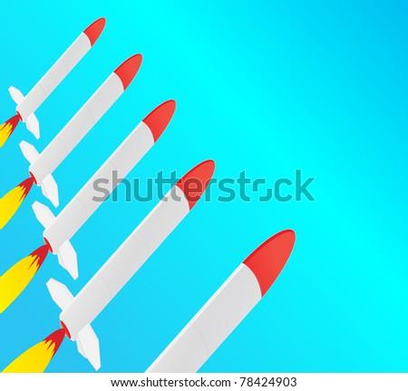 Starting rockets - stock vector