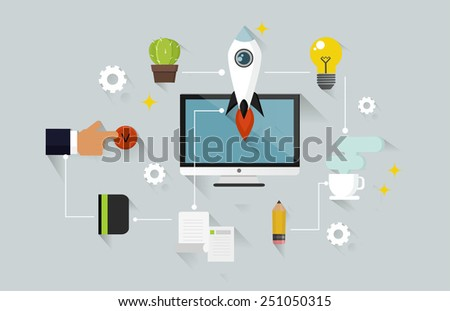 Startup business flat concept with long shadow - stock vector
