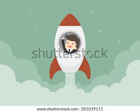 Startup Business. Flat design illustration. Businessman on a rocket - stock vector