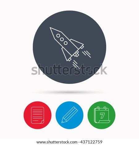 Startup business icon. Rocket sign. Spaceship shuttle symbol. Calendar, pencil or edit and document file signs. Vector - stock vector