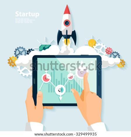 Startup concept. Flat design. - stock vector