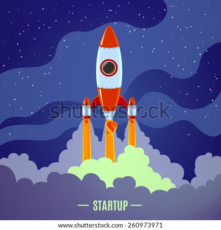 Startup concept with flat cartoon stylized rocket launch poster vector illustration - stock vector