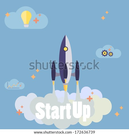 Startup new business project with rocket image development and launch a new innovation product on a market concept Flat design  vector illustration  - stock vector