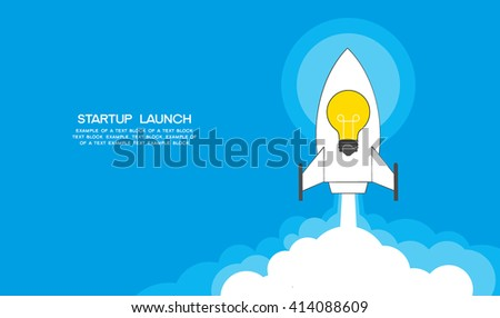 Startup template. Illustration of a rocket taking off, the bulb icon and text. File is saved in AI10 EPS.