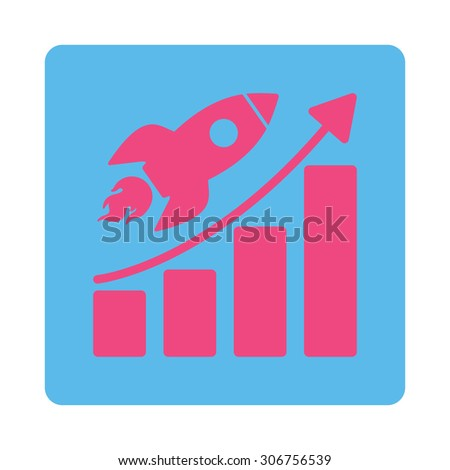 Startup vector icon. This flat rounded square button uses pink and blue colors and isolated on a white background. - stock vector