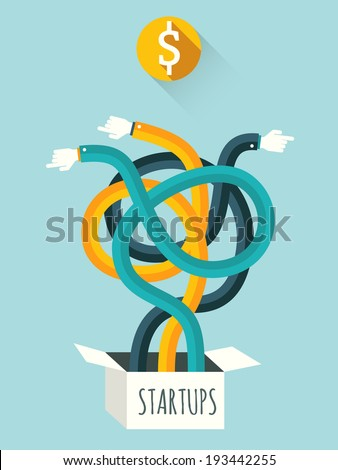 Startups.  Vector illustration. - stock vector