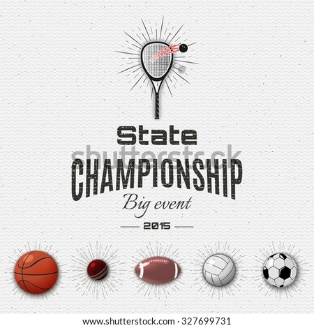 State championship insignia  and labels football, basketball, volleyball, squash, tennis, cricket, rugby, American football, insignia  and labels It can be used for design - stock vector