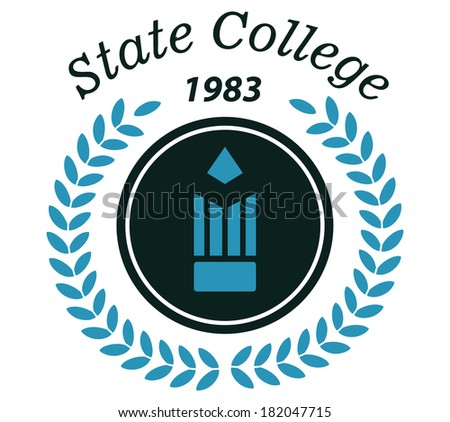 State college emblem logo with laurel wreath, pencil and text for education design - stock vector