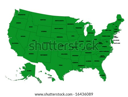 State editable vector map of the USA - stock vector