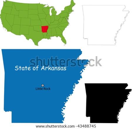 State of Arkansas, USA - stock vector