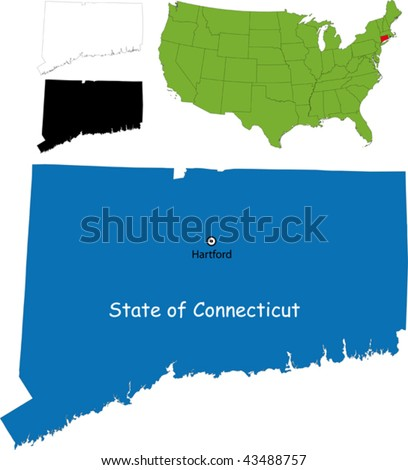 State of Connecticut, USA - stock vector
