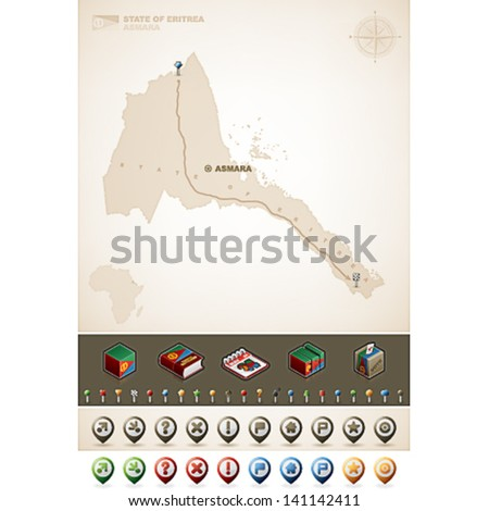 State of Eritrea and Africa maps, plus extra set of isometric icons & cartography symbols set