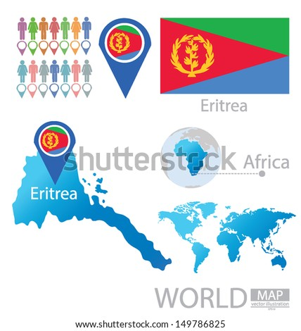 State of Eritrea. flag. World Map. vector Illustration.