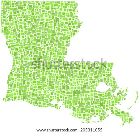 State of Louisiana - USA - in a mosaic of green squares - stock vector