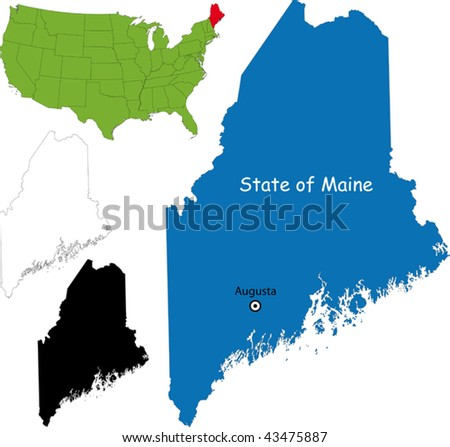 State of Maine, USA - stock vector
