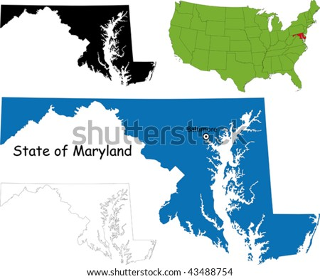 Maryland Map Stock Images RoyaltyFree Images Vectors - Maryland usa map