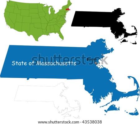 State of Massachusetts, USA - stock vector