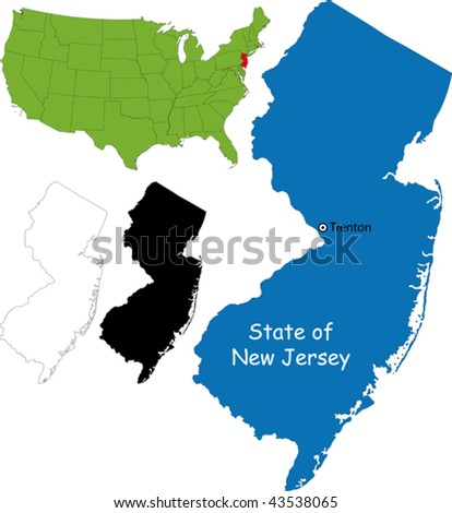 State of New Jersey, USA - stock vector