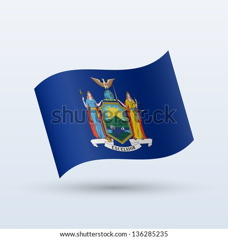 State of New York flag waving form on gray background. Vector illustration. - stock vector