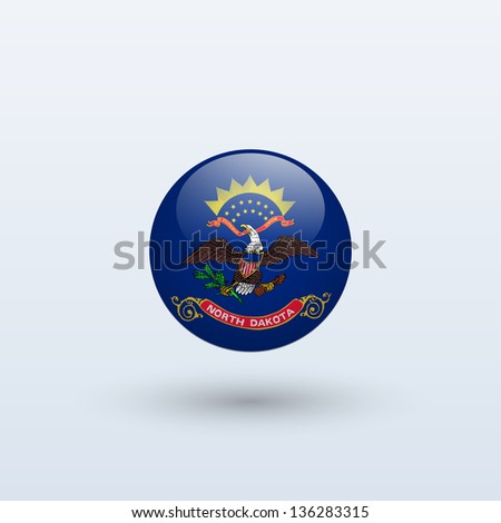 State of North Dakota flag circle form on gray background. Vector illustration. - stock vector