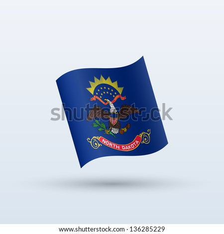 State of North Dakota flag waving form on gray background. Vector illustration. - stock vector