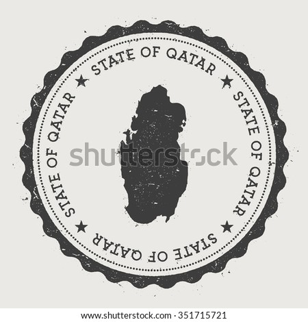 State of Qatar. Hipster round rubber stamp with Qatar map. Vintage passport stamp with circular text and stars, vector illustration - stock vector
