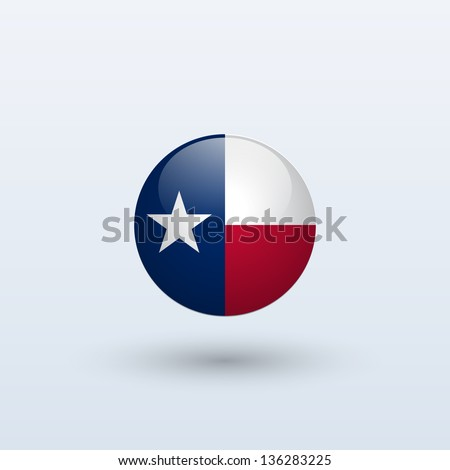 State of Texas flag circle form on gray background. Vector illustration. - stock vector