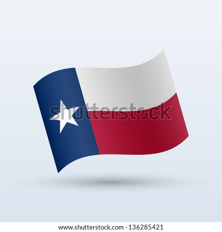 State of Texas flag waving form on gray background. Vector illustration. - stock vector
