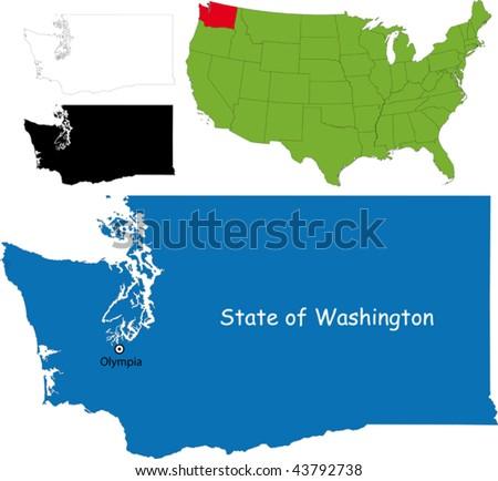 Washington State Map Stock Images RoyaltyFree Images Vectors - Map of the state of washington usa