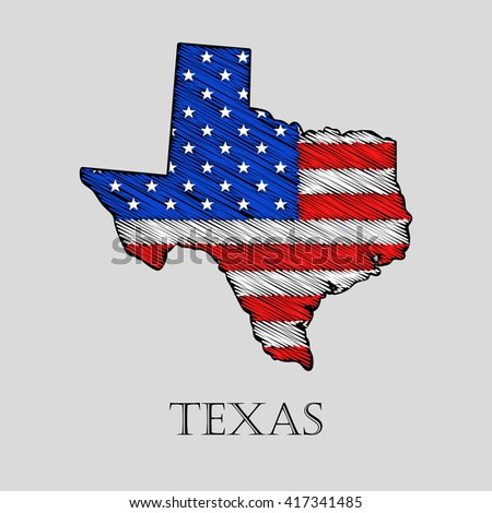 State Texas in scribble style - vector illustration. Abstract flat map of Texas with the imposition of US flag. - stock vector