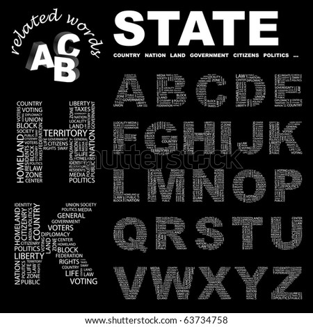 STATE. Vector letter collection. Illustration with different association terms.