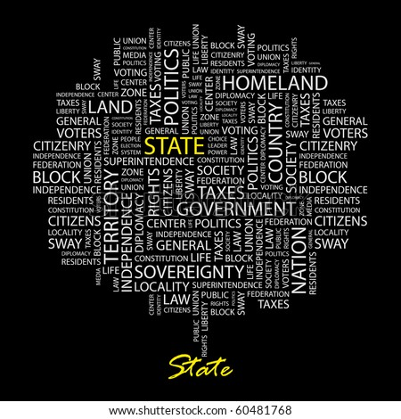 STATE. Word collage on black background. Illustration with different association terms. - stock vector