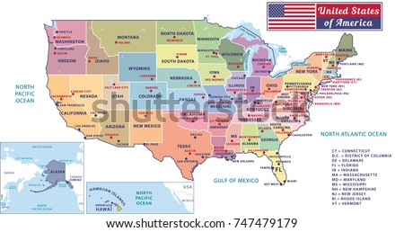 Highly Detailed Map United States Cities Stock Vector - Map of united states with capitals and major cities