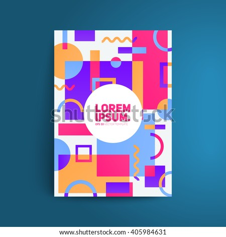 Static design poster. Simple colorful geometric shapes overlap. Eps10 template for banner,brochure,cover etc. - stock vector
