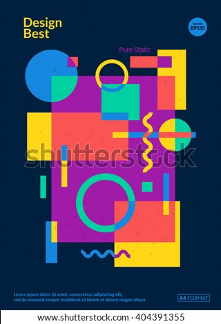 Static design poster. Simple colorful geometric shapes overlap. Eps10 template for poster,brochure,cover etc. - stock vector