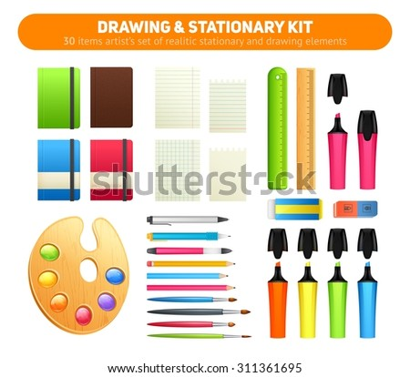 Stationary kit of supplies for drawing and writing,  office set of items - pens, pencils, paper, sketch pads, artist's palette and paint brushes, markers, erasers, rulers - stock vector