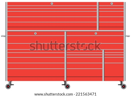 Stationary metal tool box on wheels. Vector illustration. - stock vector