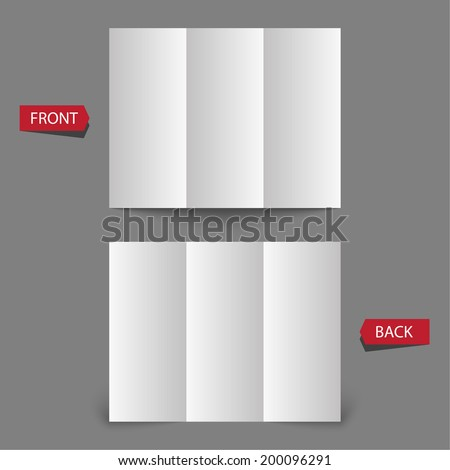 Stationary positioned blank three fold paper brochure on gray background. Open magazine. Template for design. - stock vector